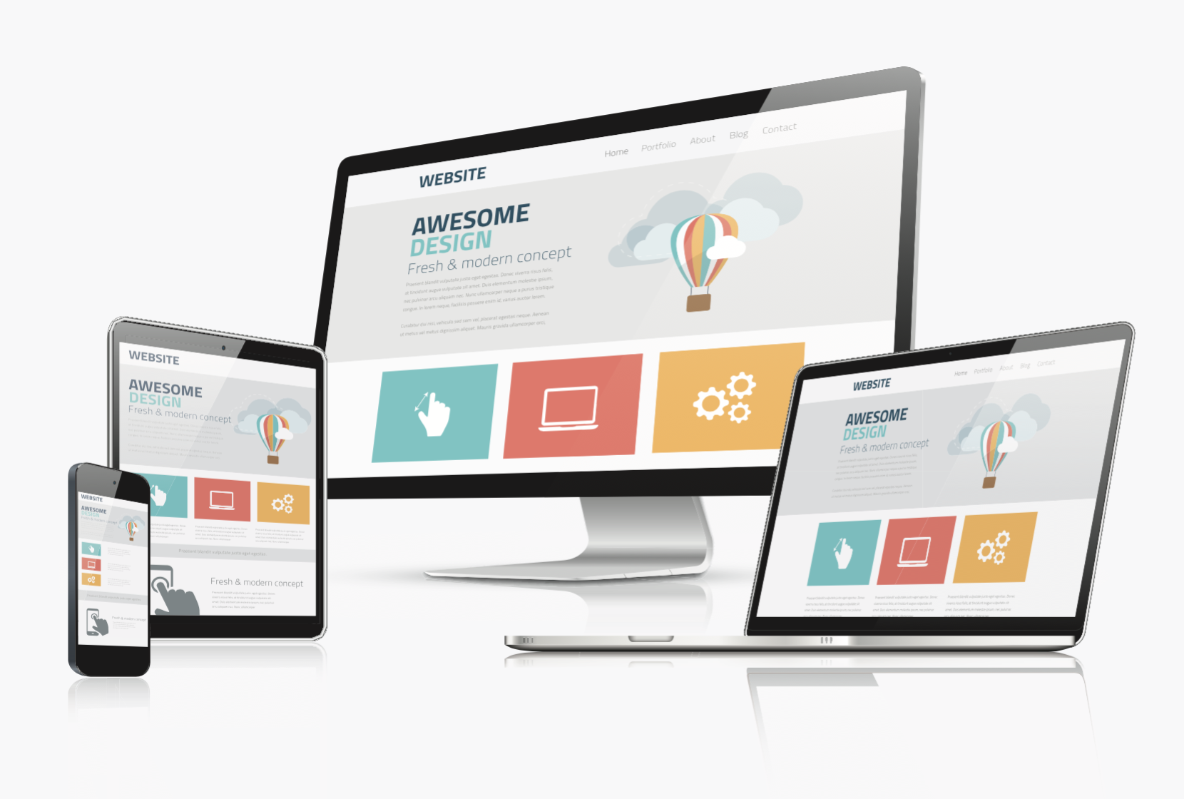 web design Newcastle showing on a phone, tablet, laptop and monitor with websites